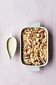 Rhubarb crumble with vanilla sauce
