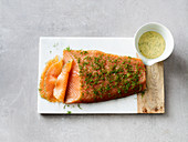 Graved lax with a mustard and dill sauce