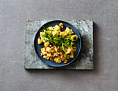 Oven-roasted cauliflower with mushroom scrambled eggs