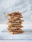 A stack of flaxseed crackers