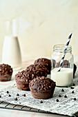 Chocolate muffins and milk