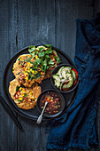 Sweetcorn and coriander pancakes with chilli jam and cucumber relish