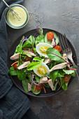 Mixed leaf salad with tuna and egg