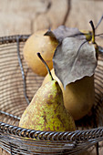 Pears in a vintage bowl