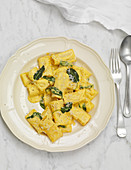 Yellow pepper rigatoni with sage