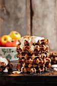 Apple waffles with yoghurt and cinnamon