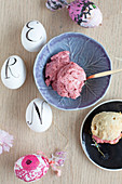 Beetroot butter in small bowls and scones for Easter