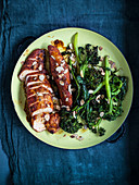 Caramelised chicken breast with broccolini and almonds