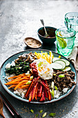 Bibimbab (rice with vegetables and beef, Korea)