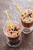 Banana split drink with dried cherries
