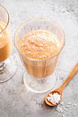 Tropical smoothie with yoghurt and papaya