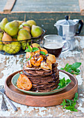 Chocolate crepes with pears