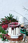 Weihnachtstorte mit Cranberries