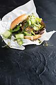 Cauliflower chicken burgers with chimichurri