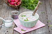 Chervil soup with radishes