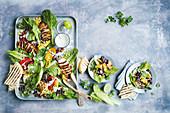 Smoky chicken fajita salad with creamy lime dressing