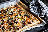 Puff pastry butternut pumpkin with mushroom and thyme