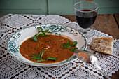 Zuppa di farro bean soup italian from Lucca, Tuscany
