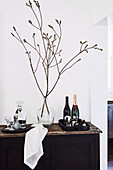 Balloon bottle with branches and trays with drinks on a rustic sideboard