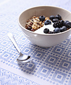 Muesli with yoghurt, blueberries and blackberries in a small bowl