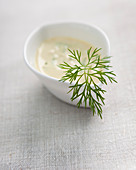 A mustard dip with dill in a small bowl