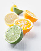Lime, orange and lemon halves