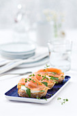 Baguette slices topped with smoked salmon