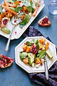 Karottensalat mit Avocado, Spinat, Granatapfel und Feta