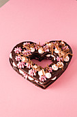 A chocolate heart with meringue for Valentine's Day