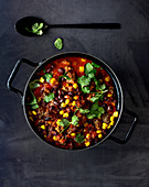 Chilli con carne with black beans