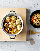 Pork stew with apples and dumplings