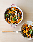 Mashed sweet potatoes with black beans and feta cheese