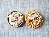 Waffles with chocolate marshmallow and mandarin quark