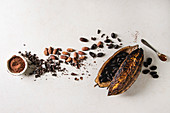 Variety of fresh and dry cocoa beans from cocoa pod with chopped dark chocolate and cocoa powder