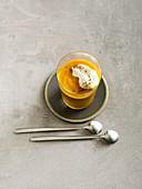 Pumpkin smoothie with cinnamon cream