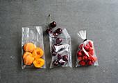 Fresh fruit being frozen