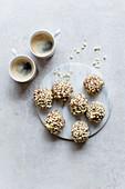 Hazelnut balls served with coffee