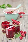 Raspberry jam with lemon balm