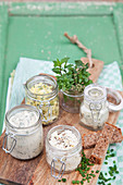 Various homemade spreads in jars