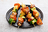 Chicken skewers with pineapple and mushrooms