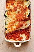 Courgette lasagne with lentil sugo