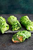 Smoked salmon lettuce wraps with almond cream