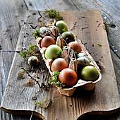 Ostereier natürlich gefärbt im Eierkarton
