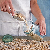 A muesli mix with buckwheat, oats and popped amaranth