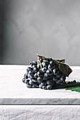 Blaue Trauben auf Marmorplatte