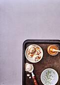 Tahini, banana and mixed-nut ice cream with salted honey caramel