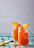 Tipsy carrot, orange and tequila cocktails