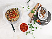 Koshari (rice with lentils and chickpeas, Egypt)