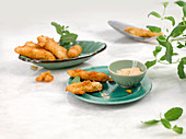 Halloumi chips with mint and mayo