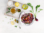 Quick vegetable salad with lemon vinaigrette